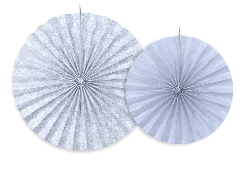 ... » Girlanden/Schilder/Lampions » 2 Deko-Rosetten in Grau-Blau