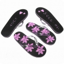 "Strandsandale ""Just Married-Blume"" in schwarz/pink"